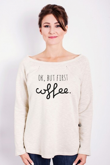Bluza oversize do karmienia Ok but first coffee # XS latte melanż