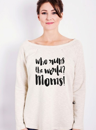 Bluza oversize do karmienia Who runs the world # XS latte melanż