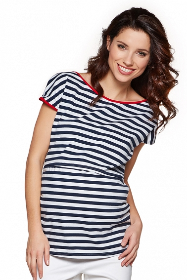 T-shirt Daisy stripes navy/w