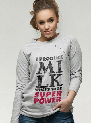 Bluza oversize do karmienia I produce milk What's your superpower # XS szary